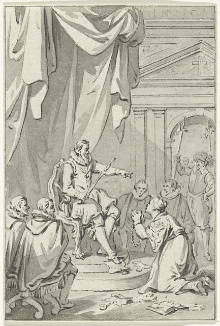 Allegorie op de invoering van de tiende penning; de Nederlandse maagd geknield voor Alva temidden van verscheurde privileges, 1571