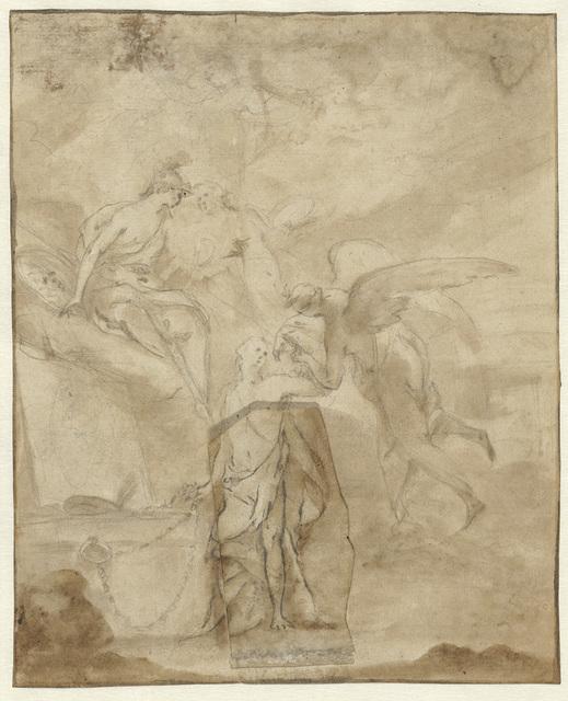 Allegorie op de schilderkunst met Prometheus, Mercurius, Minerva en Pictura bij een schildersezel waarop een schilderij