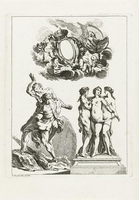 Allegorie op de vergankelijkheid, de drie Gratiën en Hercules