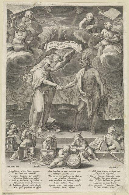 Allegorie op het huwelijk tussen het kwaad en de duivel