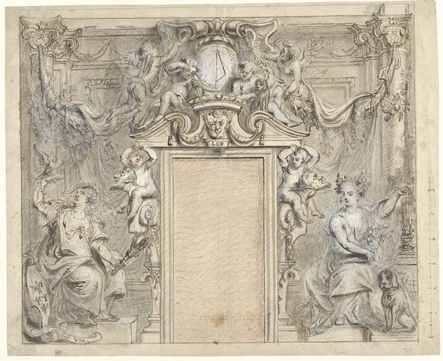 Allegorische figuren rondom een deuromlijsting