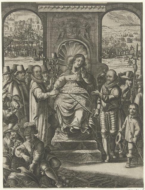 Allegorische titelprent met de Nederlandse Maagd geflankeerd door Willem van Oranje en prins Maurits