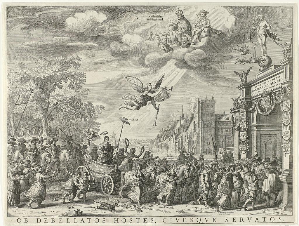 Allegorische triomfantelijke intocht van Frederik Hendrik in Den Haag