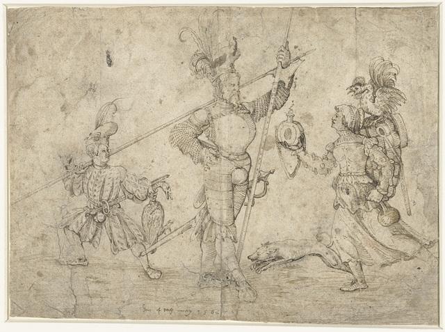 Allegorische voorstelling met hellebaardier, schildknaap en vrouw