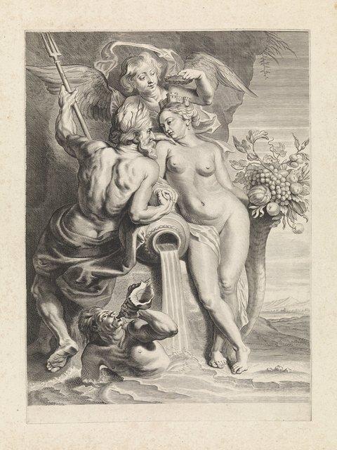 Allegorische voorstelling met Neptunus en Cybele