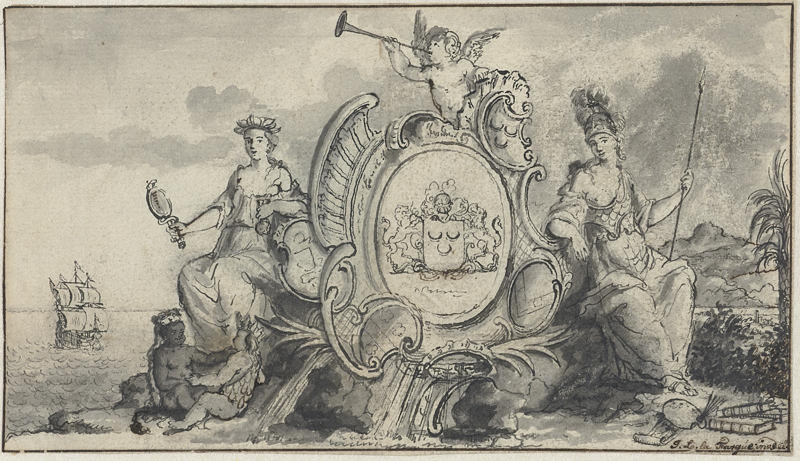 Allegorische voorstelling met Prudentia, Minerva en twee kinderen
