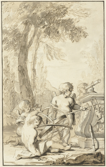 Allegorische voorstelling met spelende kinderen met astronomische instrumenten