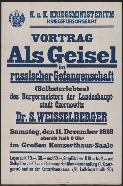 Als Geisel in russischer Gefangenschaft - Vortrag Salo Weisselberger - Wien
