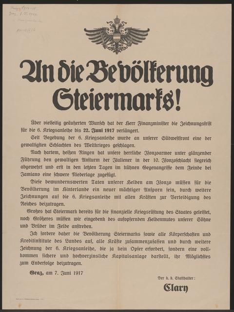 An die Bevölkerung Steiermarks! - Sechste Kriegsanleihe - Graz