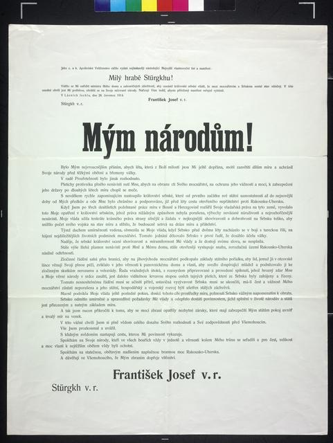 An Meine Völker! - Schreiben von Kaiser Franz Joseph - Kriegserklärung - Kundmachung - In tschechischer Sprache