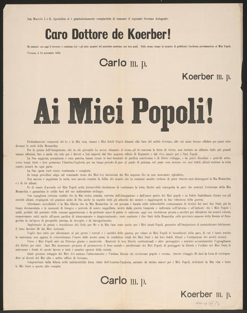 An meine Völker - Schreiben von Kaiser Karl vom 21. November 1916 - Ai Miei Popoli!