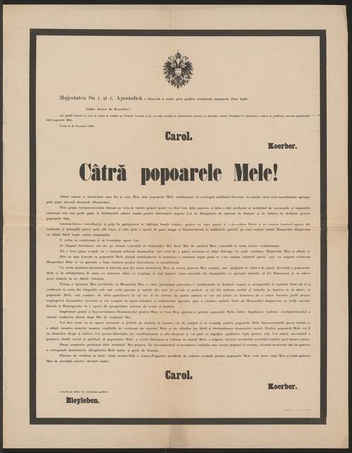 An meine Völker - Schreiben von Kaiser Karl vom 21. November 1916 - Câtră popoarele Mele! - In rumänsicher Sprache