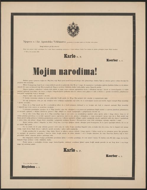An meine Völker - Schreiben von Kaiser Karl vom 21. November 1916 - Mojim narodima! - In kroatischer Sprache