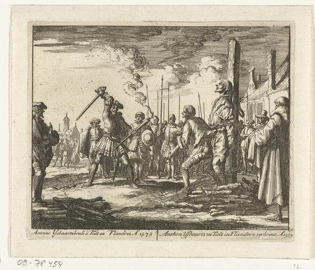 Anthonie IJsbaarts te Tielt op de brandstapel, 1573
