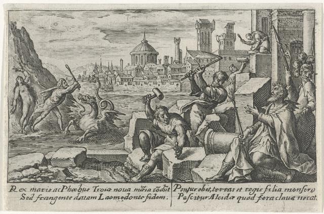 Apollo en Neptunus bouwen de muren van Troje