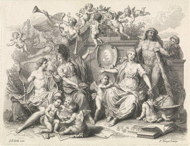 Apollo, Minerva, Rechtvaardigheid en Hercules rond een wapenschild