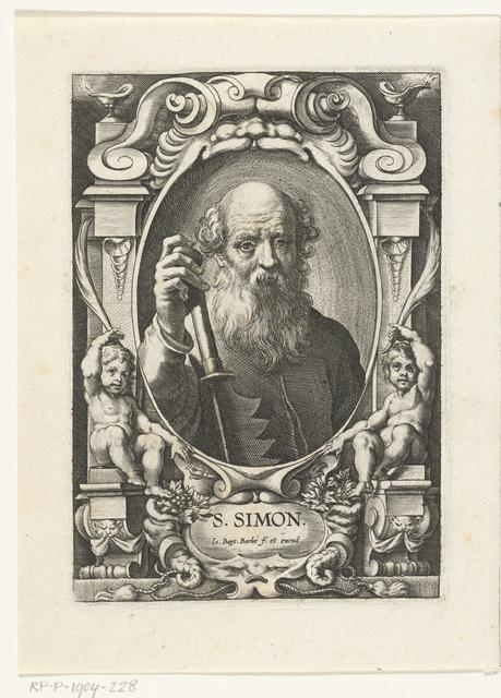 Apostel Simon Zelotes met zaag in omlijsting met architectuur ornamenten