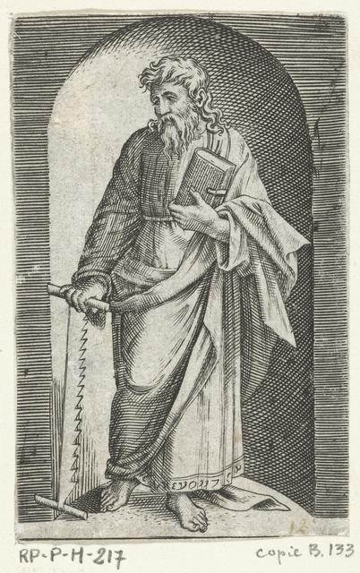 Apostel Simon Zelotes met zaag staand in nis