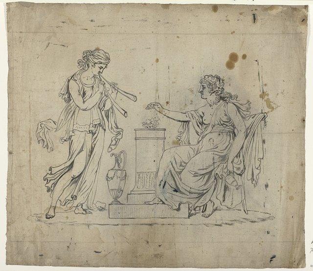 Arcadisch tafereel met een zittende en een staande vrouw