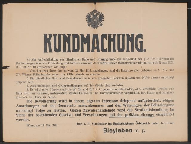Aufrechterhaltung der öffentlichen Ruhe und Ordnung - Kundmachung - Wien