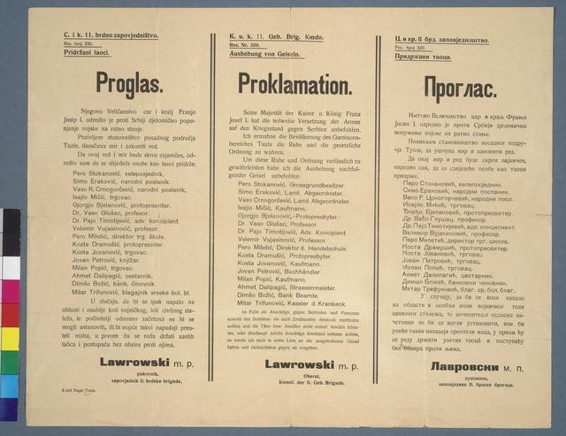 Aushebung von Geiseln - Proklamation - Tuzla - Mehrsprachiges Plakat