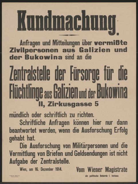 Auskünfte über vermisste Zivilpersonen - Kundmachung - Wien