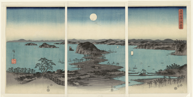 Avond panorama op de acht gezichten op Kanazawa in de provincie Musashi