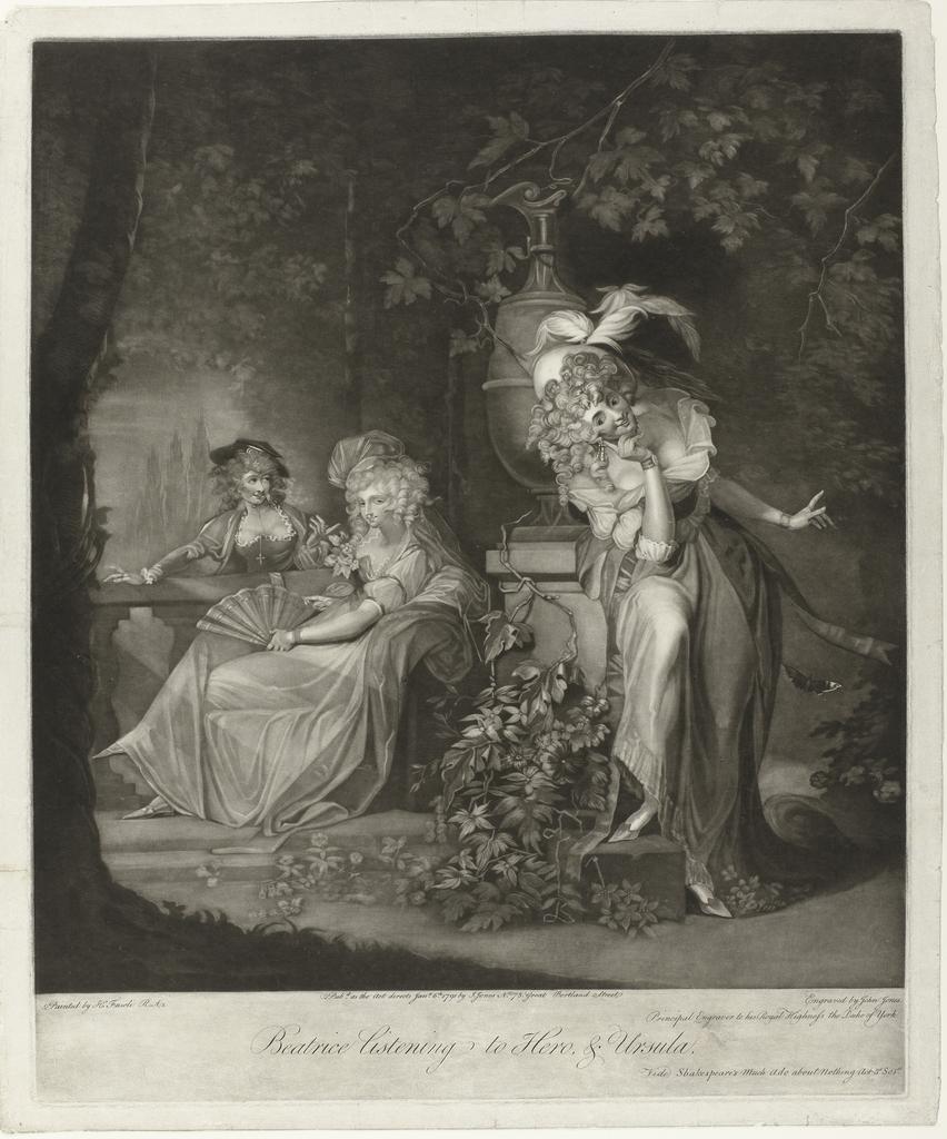 Beatrice luistert een gesprek af van Hero en Ursula
