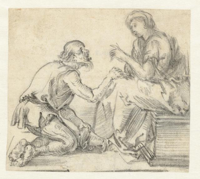 Bedelaar op zijn knieen zittend voor een zittende vrouw