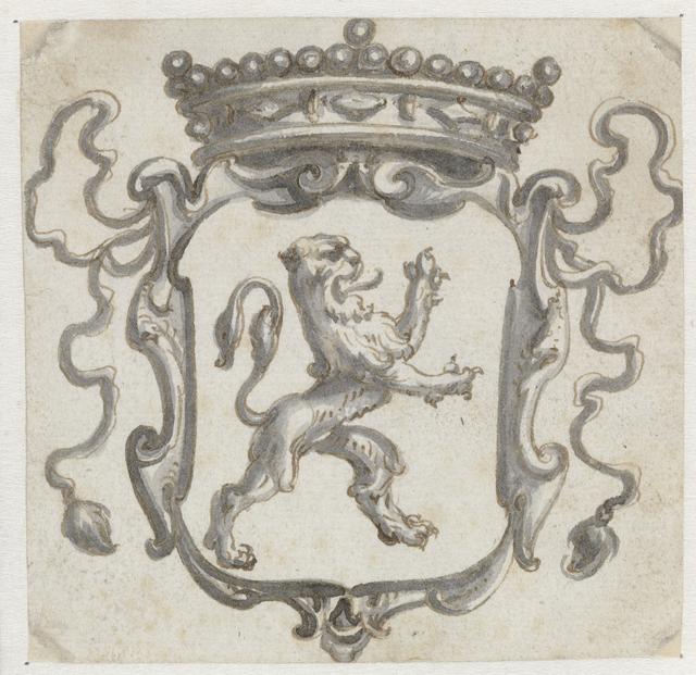 Bekroond wapenschild met een klimmende leeuw