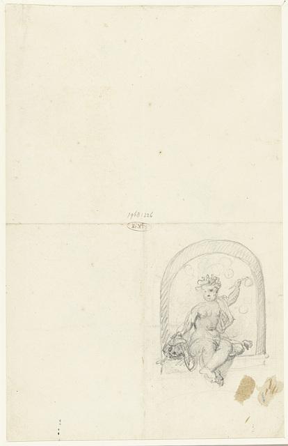 Bellenblazend kind met schedel, zittend in een nis