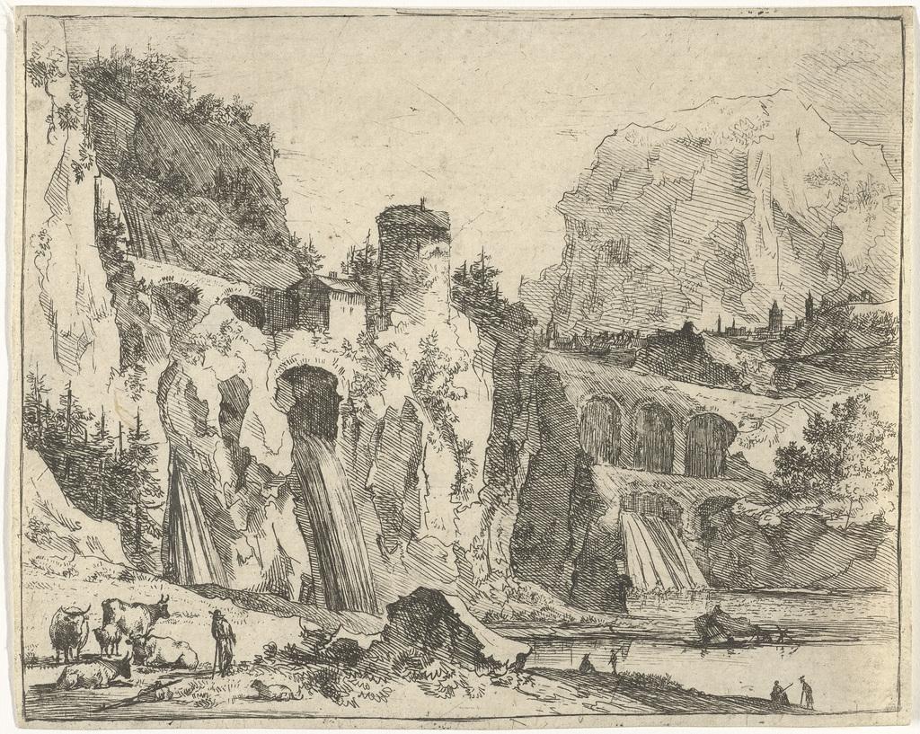 Berglandschap met drie watervallen