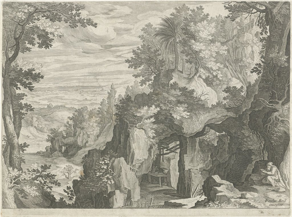 Berglandschap met een kluizenaar