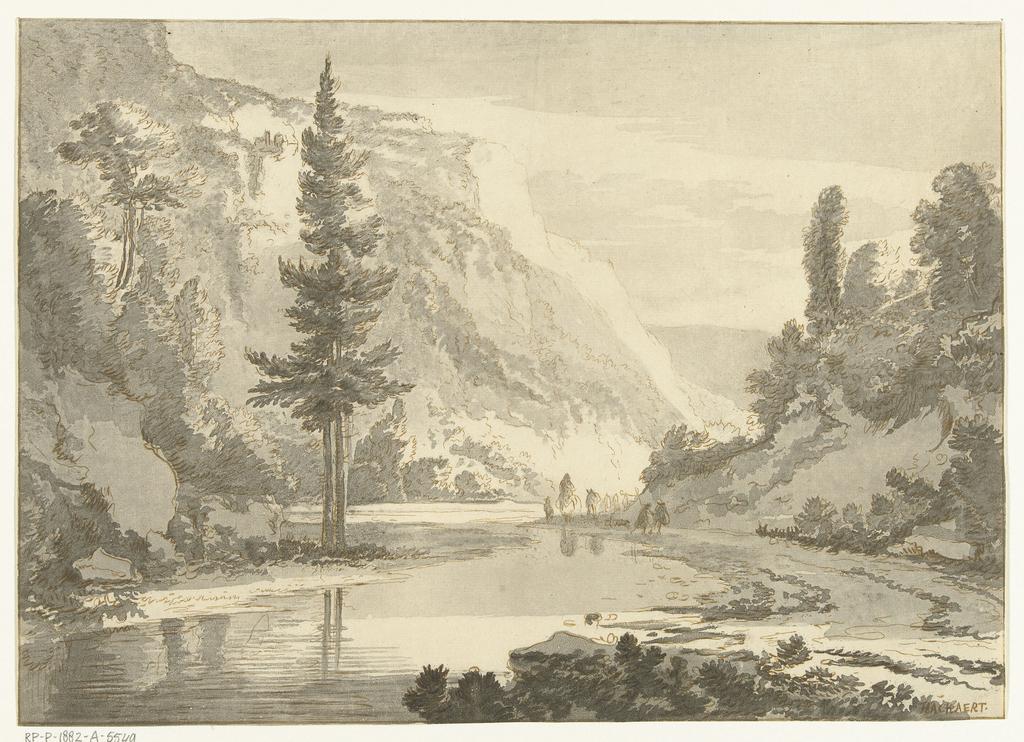Berglandschap met herders op rivieroever