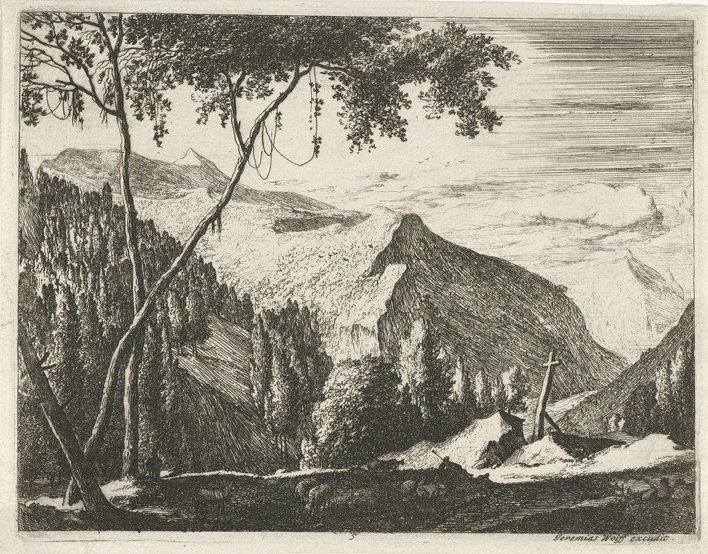 Berglandschap met kruis