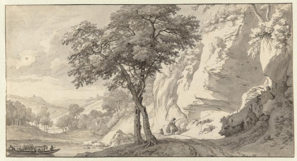 Berglandschap met veerpont