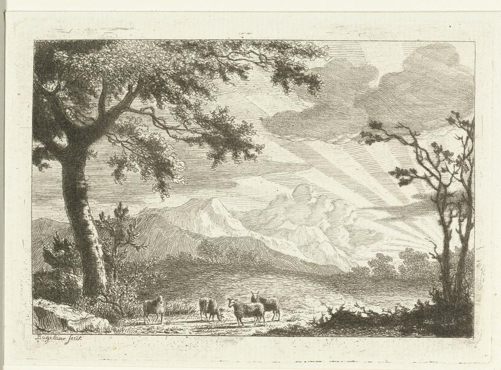 Berglandschap met vier schapen