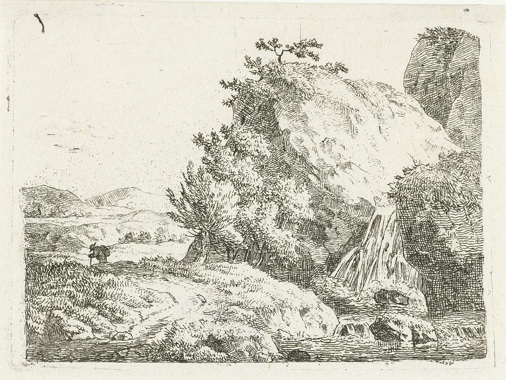 Berglandschap met waterval en wandelaar