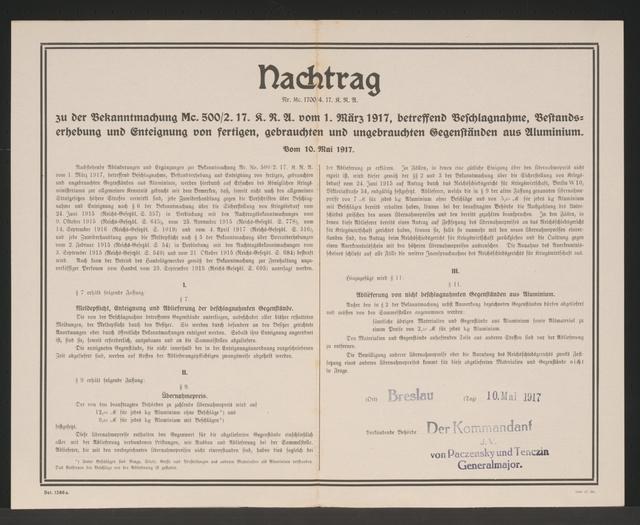Beschlagnahme und Bestandserhebung von Gegenständen aus Aluminium - Bekanntmachung- Breslau