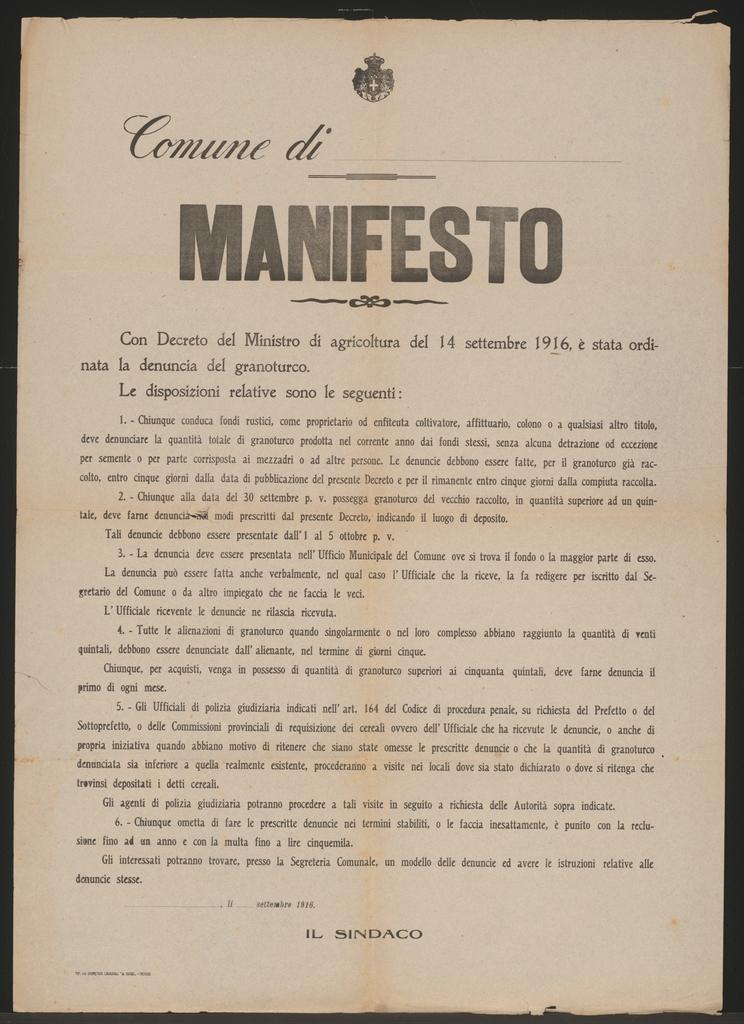 Bestandserhebung Mais Vordruck Plakat In Italienischer Sprache Picryl Public Domain Image