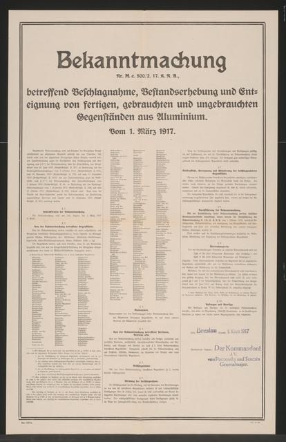 Bestandserhebung und Enteignung von Gegenständen aus Aluminium - Bekanntmachung - Breslau