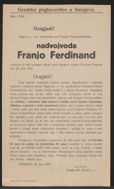 Besuch Franz Ferdinands in Sarajevo - Bekanntmachung - Sarajevo - In kroatischer Sprache