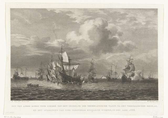 Binnenbrengen van vier veroverde Engelse schepen na de Vierdaagse Zeeslag, 1666
