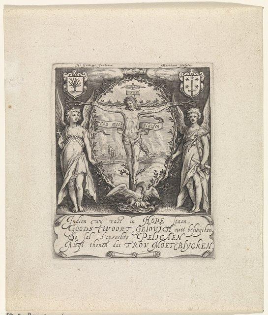 Blazoen of nieuwjaarskaart van de Haarlemse rederijkerskamer De Pellicaen
