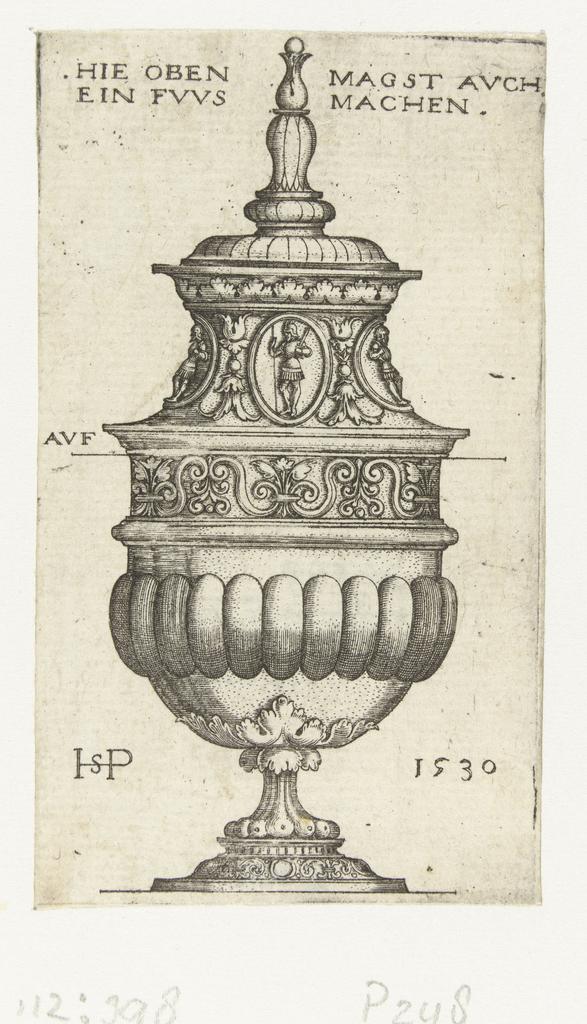 Bokaal met deksel, gedecoreerd met ovale medaillons