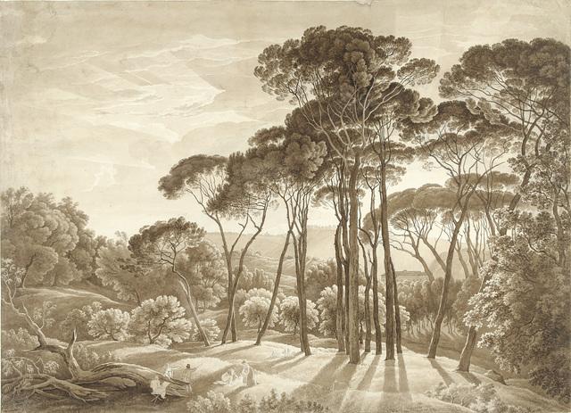 Boslandschap in de omgeving van Rome met ondergaande zon