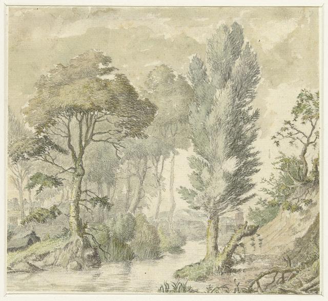 Boslandschap met rechts een heuvel en in het midden water