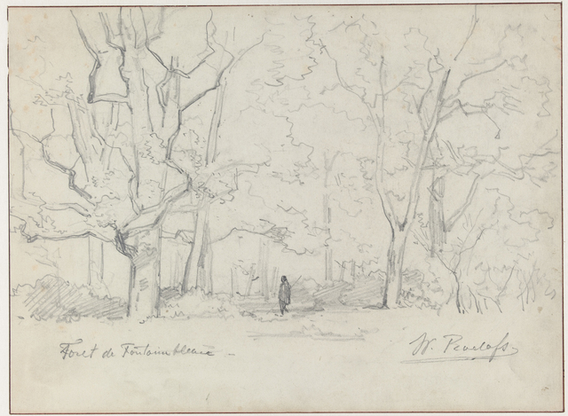 Boslandschap te Fontainebleau met wandelaar