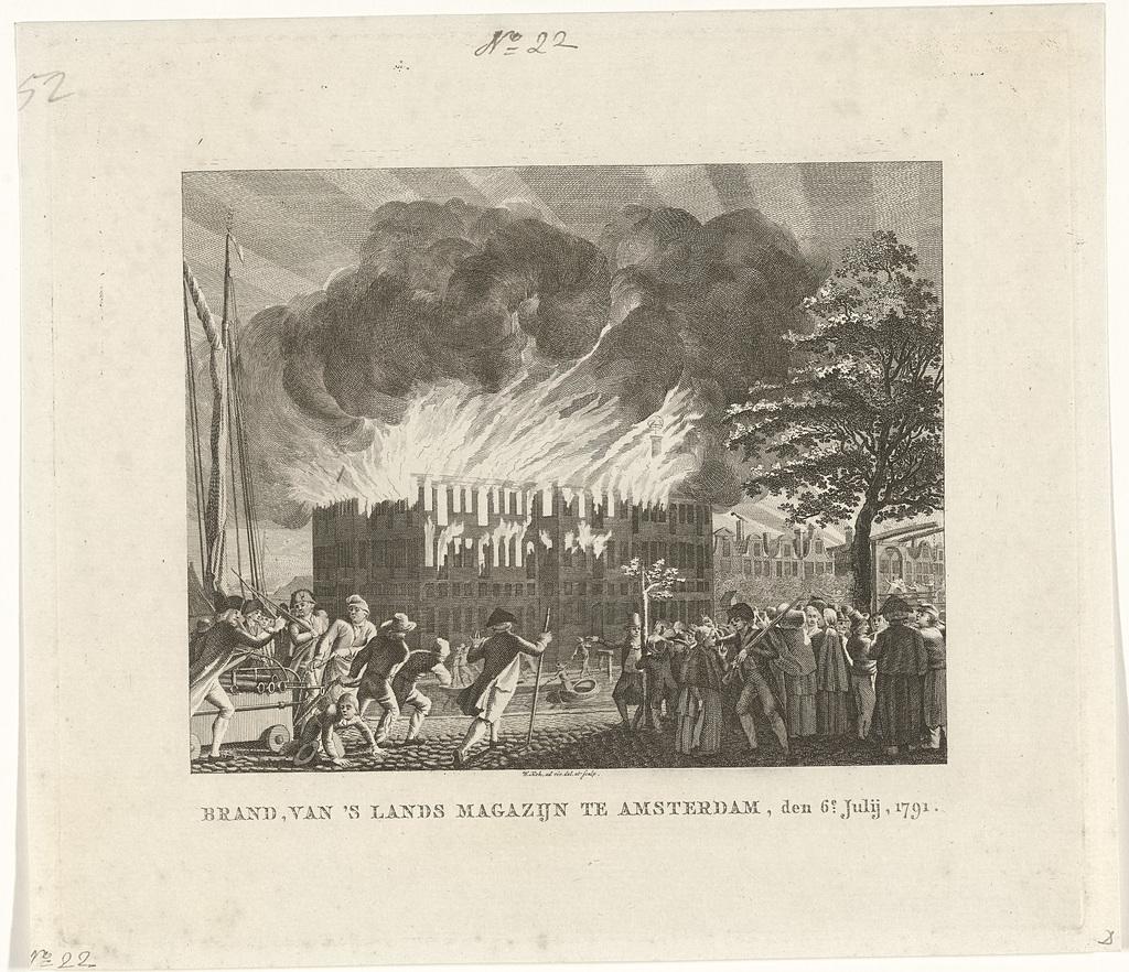 Brand in 's Lands Zeemagazijn te Amsterdam, 6 juli 1791 - PICRYL Public  Domain Image