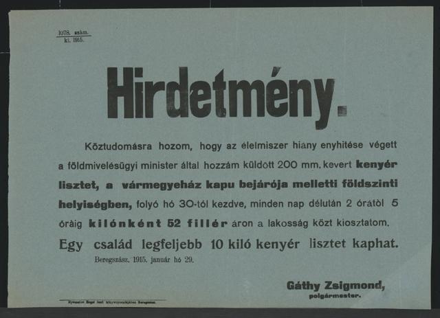 Brotmehl wird verteilt - Lampertshaus - In ungarischer Sprache